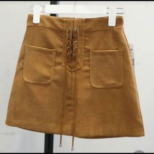 NWOT Mocha Lace Up Skirt